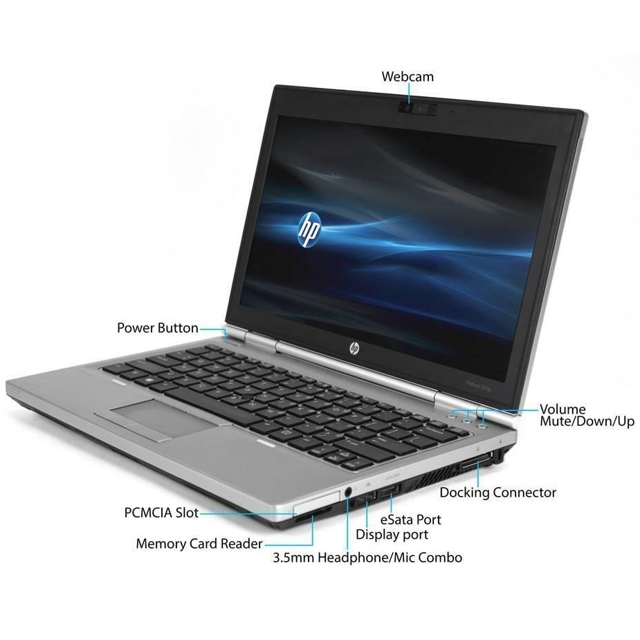 HP Laptop 256GB SSD 16GB RAM Powerful Core i5 Windows 10 2570P Elitebook Webcam