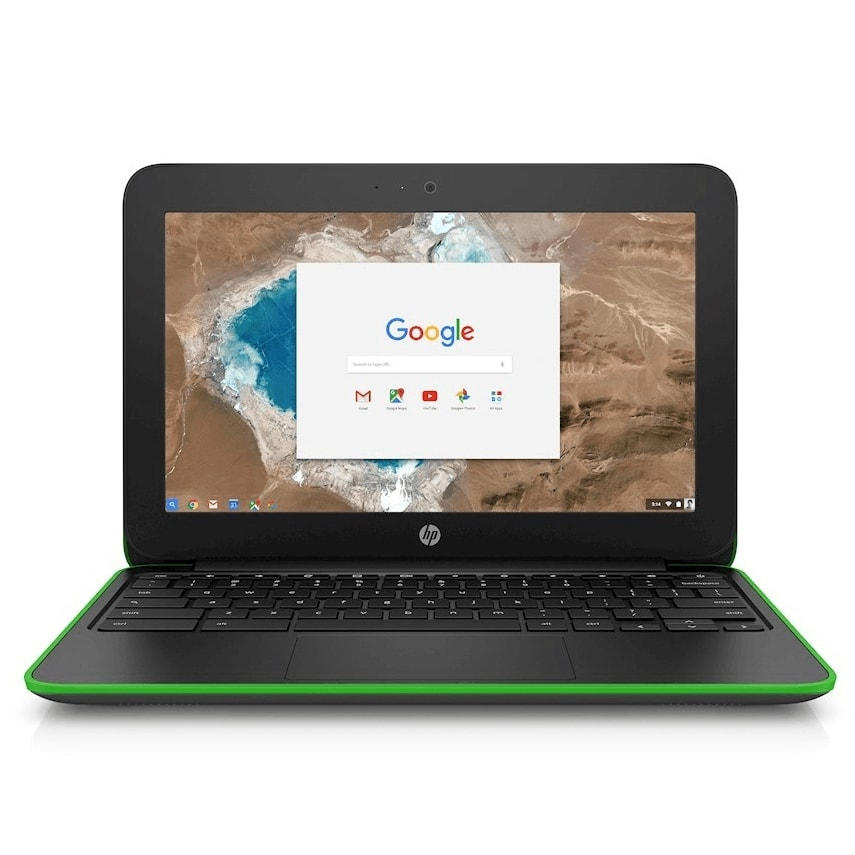 "HP Laptop Chromebook G5 Powerful 11.6"" 16GB 4GB Webcam HDMI Refurbished Black Green"